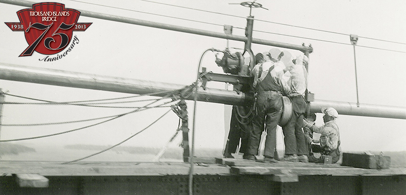 Wrapping cable on the US Span of the bridges in 1937.